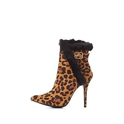 Leopard Print Faux Fur-Trim Booties