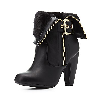 Bamboo Folded Faux Fur-Trim Booties