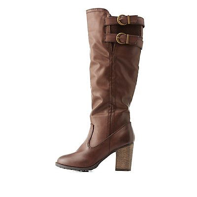 Bamboo Gored & Belted Chunky Heel Boots