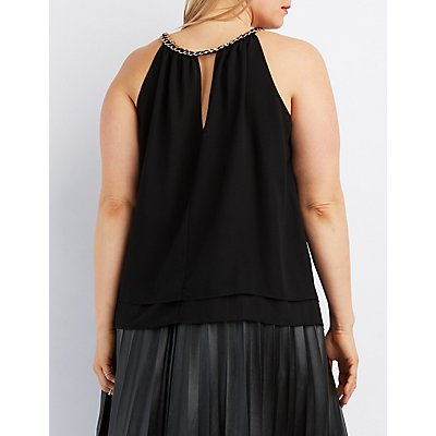 Plus Size Chain Neck Tank Top