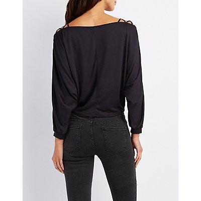 Plus Size Lattice-Shoulder Dolman Top