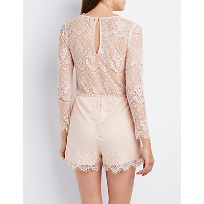 Eyelash Lace Lace-Up Romper