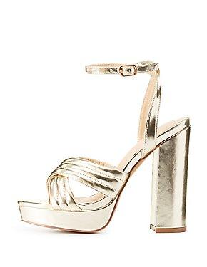 Metallic Chunky Platform Sandals