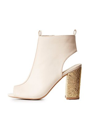 Metallic Heel Slingback Booties