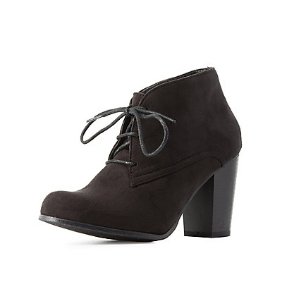 Lace-Up Chunky Heel Booties