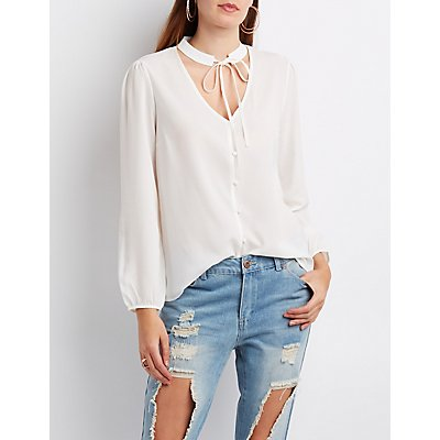 Tie-Neck Button-Up Blouse