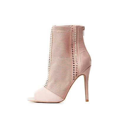 Mesh Laser Cut Peep Toe Booties