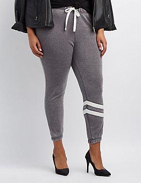 Plus Size Striped-Leg Jogger Pants