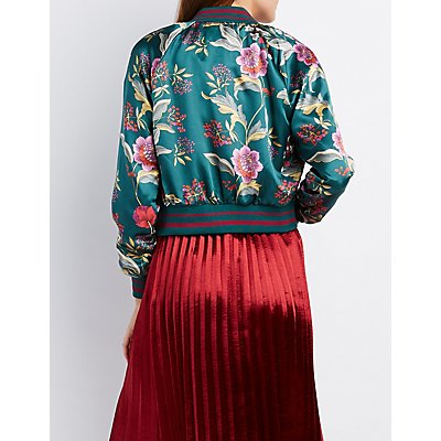 Floral Satin Cropped Bomber Jacket