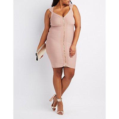 Zip Front Bodycon Dress Plus Size 14