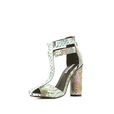 Iridescent Faux Snakeskin Dress Sandals