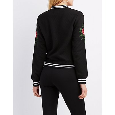 Varsity Stripe Embroidered Knit Bomber Jacket