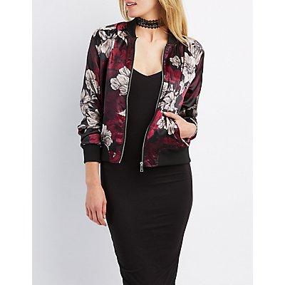 Floral Satin Bomber Jacket