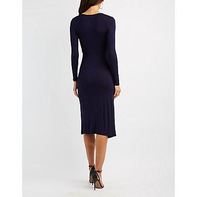 Surplice Midi Wrap Dress