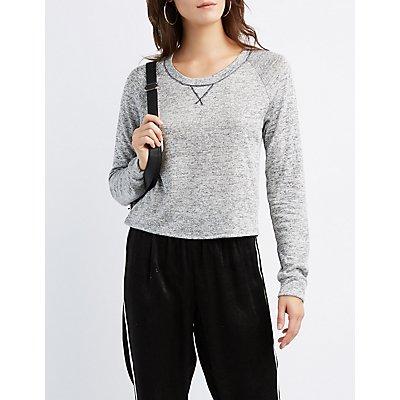 Marled Cropped Sweatshirt
