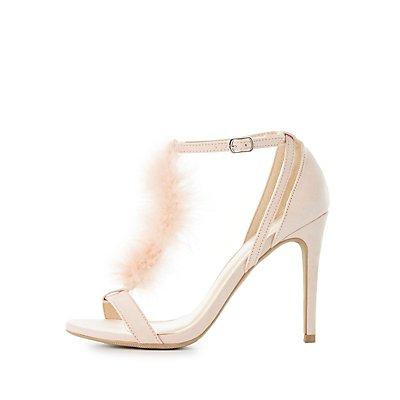 Feather T-Strap Dress Sandals