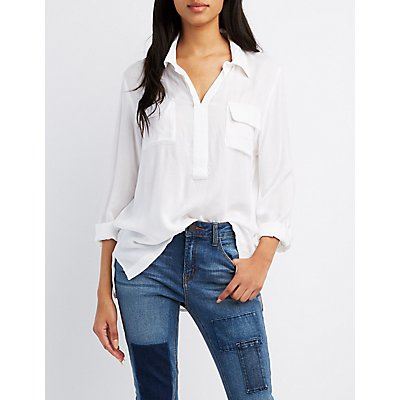 Flap Pocket Collared Shirt
