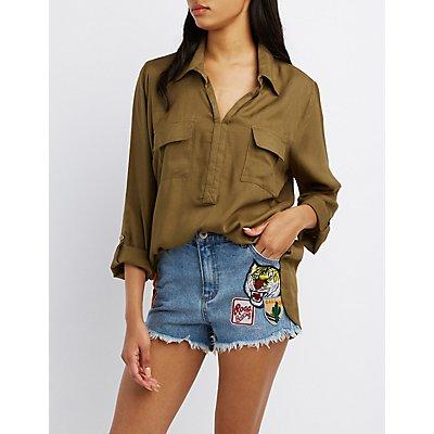 Flap Pocket Collared Shirt