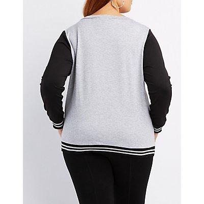 Plus Size Varsity Stripe Colorblock Sweatshirt
