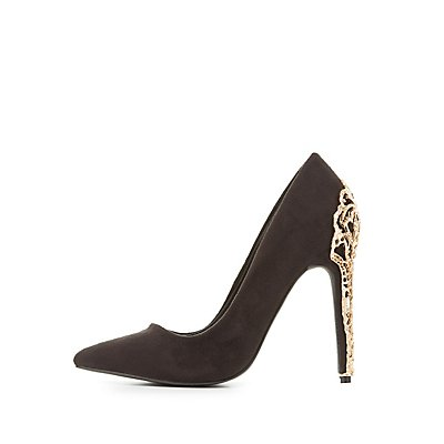 Metal Heel Pointed Toe Pumps