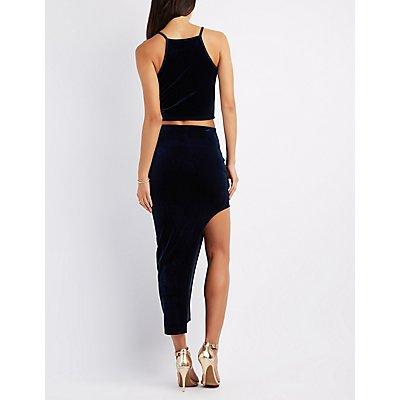 Velvet Asymmetrical Maxi Skirt