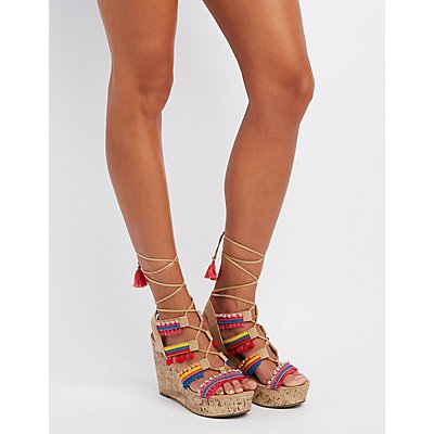 Embellished Lace-Up Wedge Sandals