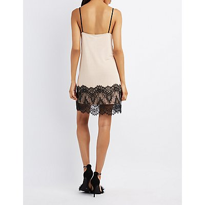 Lace-Trim Slip Dress