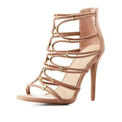 Metal-Tipped Tubular Dress Sandals