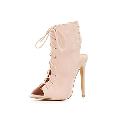 Lace-Up Slingback Peep Toe Booties