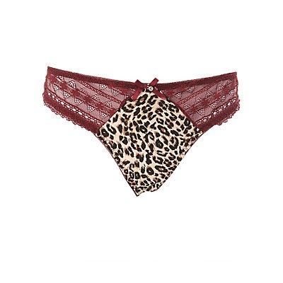 Plus Size Leopard & Mesh Lace-Trim Panties