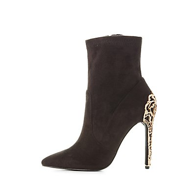 Metal Heel Pointed Toe Booties