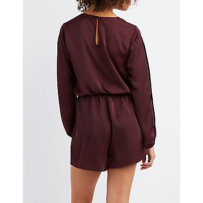 Satin Split Sleeve Surplice Romper