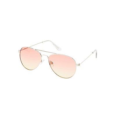 Pink Tinted Aviator Sunglasses