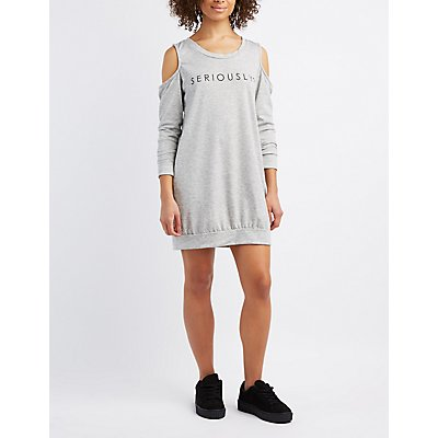 Seriously Cold Shoulder Sweatshirt Dress