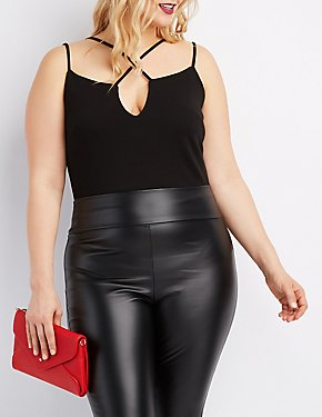 Plus Size Strappy Caged Bodysuit