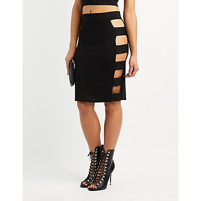 Ponte Caged Pencil Skirt