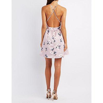 Floral Bib Neck Backless Skater Dress
