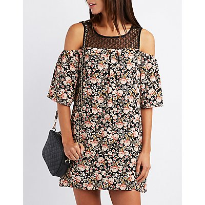 Floral & Crochet Cold Shoulder Shift Dress