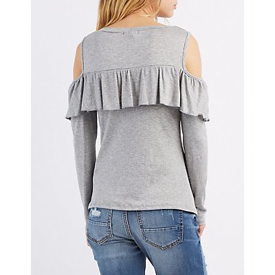 Ribbed Ruffle-Trim Cold Shoulder Top