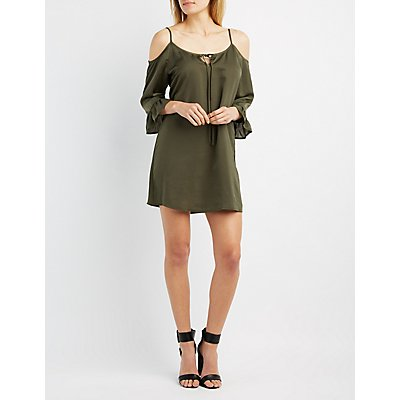 Ruffle-Trim Cold Shoulder Dress