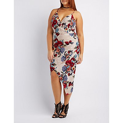 Plus Size Floral Asymmetrical Wrap Dress