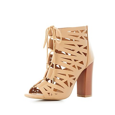 Bamboo Laser Cut Lace-Up Sandals