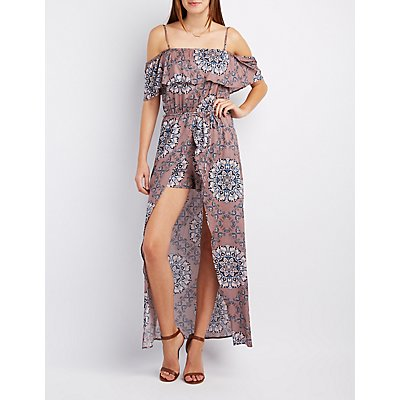 Printed Cold Shoulder Maxi Romper