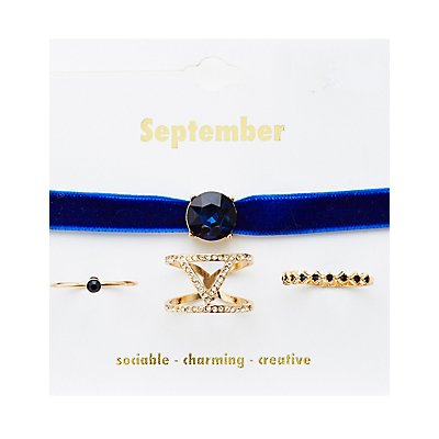 September Birthstone Choker Necklace & Rings Set