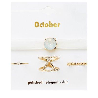 October Birthstone Choker Necklace & Rings Set