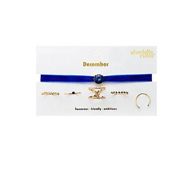 December Birthstone Choker Necklace & Rings Set