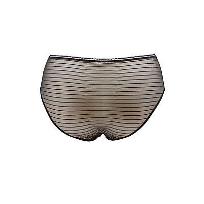 Plus Size Striped Mesh Printed Panties