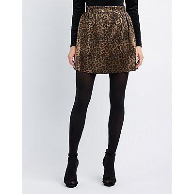 Leopard Micro Pleated Skater Skirt
