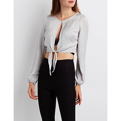 Silky Tie-Front Crop Top