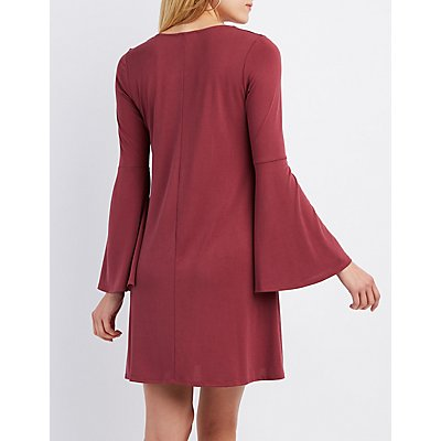 Lace-Up Bell Sleeve Shift Dress